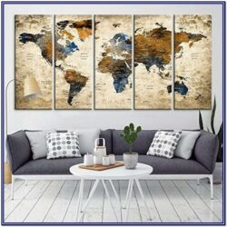 Wall Map Decor For Living Room