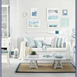 White And Blue Living Room Wall Decor
