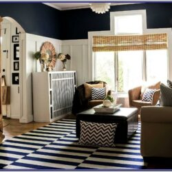 White And Navy Blue Living Room Decor
