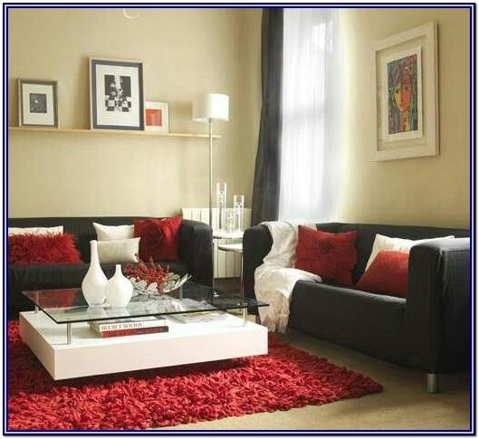 White And Red Living Room Decor
