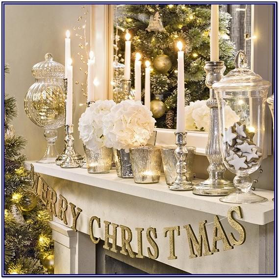 White And Silver Christmas Living Room Decor