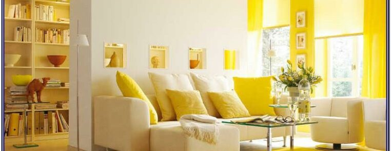 White And Yellow Decoration For Living Room
