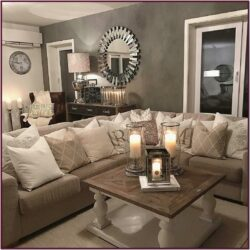 Beige Grey Farmhouse Living Room Ideas