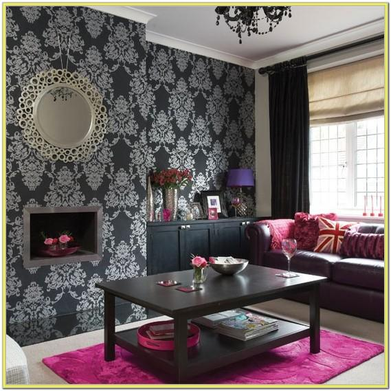 Black And White Wallpaper Living Room Ideas