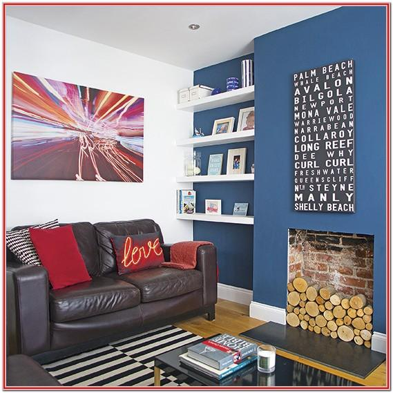 Dark Blue Wall Living Room Ideas