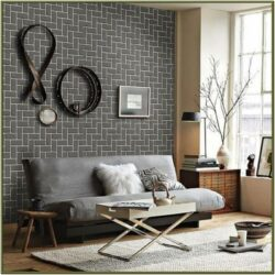 Grey Brick Wallpaper Living Room Ideas