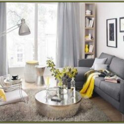 Grey Yellow Living Room Ideas With Curtains