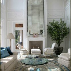 High Ceiling Living Room Fireplace Idea