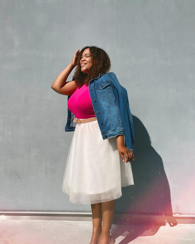 Black woman in tulle skirt