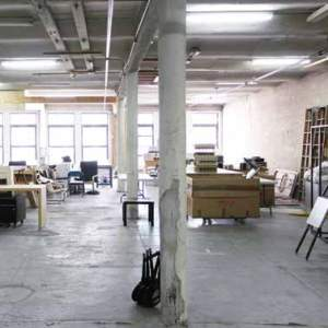 The interior of an office very industrial looking