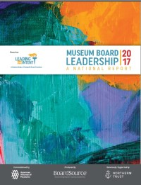 Image of the cover of Museum Board Leadership. A colorful image of greens, purple and orange swaths of color.