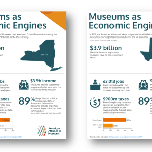 Image of 4 infographic one-pagers from California, New York, Texas, and Florida