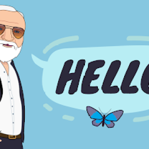 "Blue graphic image with Andybot and butterflies with a speech bubble that says ""Hello""."