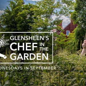 "Promotional image of corn growing near the Glensheen mansion with someone wearing a chef's hat and carrying a sharp knife stand in the midst of the corn, their face obscured, with ""Glensheen's Chef in the Garden. Wednesdays in September"" overlayed in white letters to the right of the image."