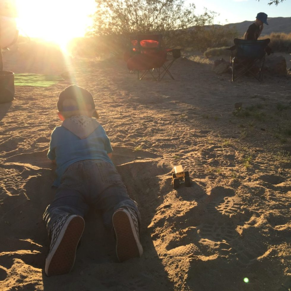 Playing in the Sand at Kelso Camp
