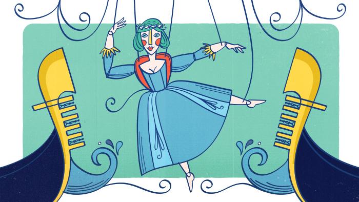 Une marionnette de femme danse sur l'eau entre deux gondoles