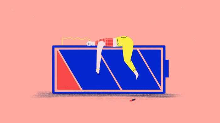 """Une fille allongée sur une pile illustre """"Ponerse las pilas"""", une expression en espagnol très imagée"""