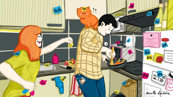 Pour apprendre facilement une langue, une femme colle des Post-it sur de nombreux objets de la cuisine, y compris son chat