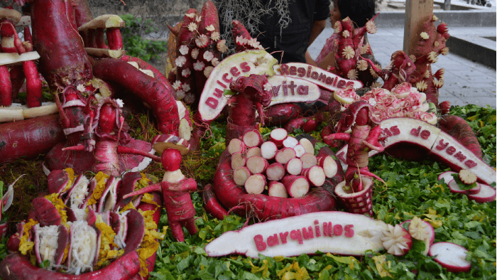 a decorative display made of radishes holiday traditions