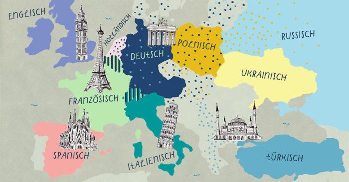 Meistgesprochene Sprachen Europa