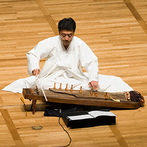 "Sang-hun Kim performs a solo ajaeng in a premiere performance of ""When He Was 600 Years Old"" by Hi Kyung Kim"