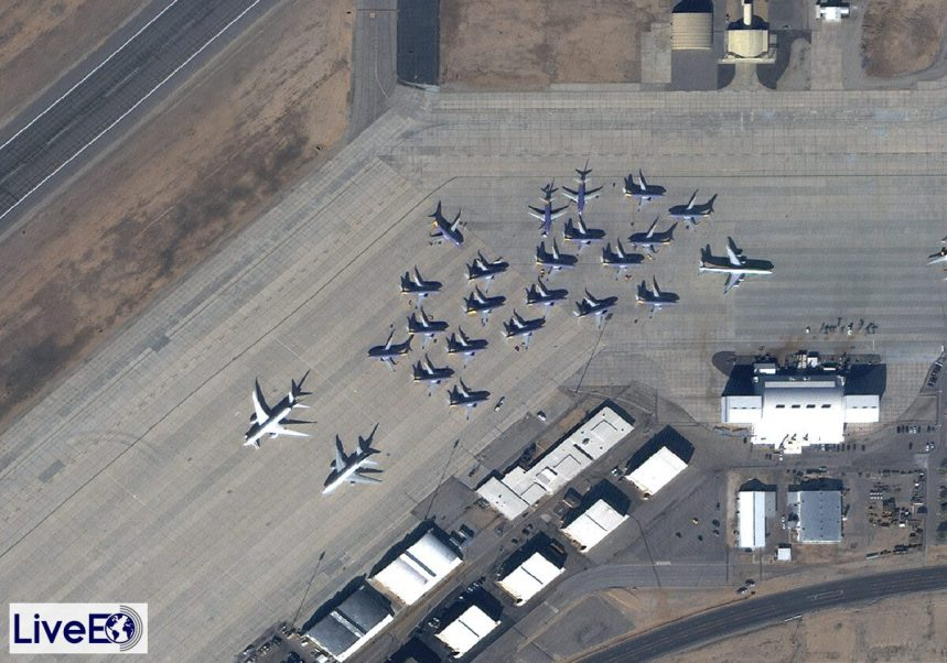 There are a few Boeing 737s parked here in Victorville, California