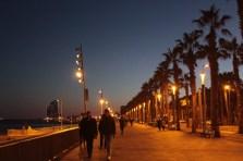 夜の海沿いストリート