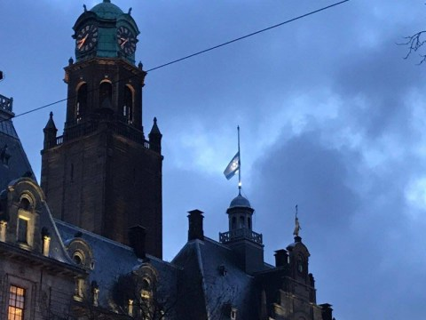 The Israeli flag at half-mast atop City Hall in Rotterdam, the Netherlands on Jan. 10, 2017