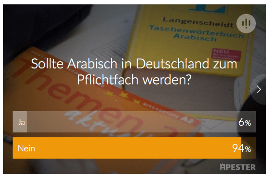 Text of Die Welt's straw poll about compulsory Arabic classes.