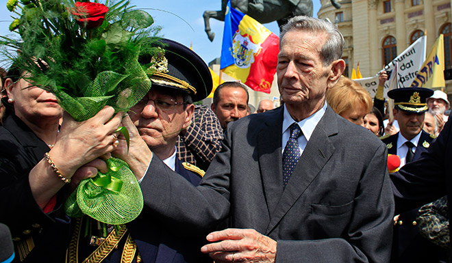 After laying a wreath at the statue of King Carol I in Bucharest in 2012. (Radu Sigheti/Reuters)