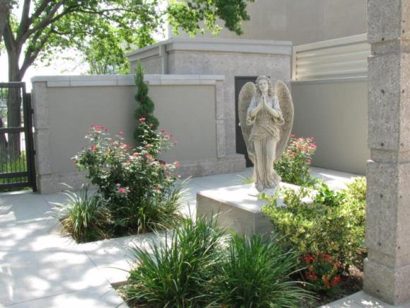 Columbarium interior with statue