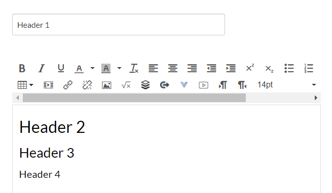 Heading hierarchy example shows the heading options start at Heading 2 in the rich text editor and shows the variance between Heading 2, 3, and 4. Also shows the Heading 1 is automatically set at the page, assignment, discussion or quiz name in Canvas.