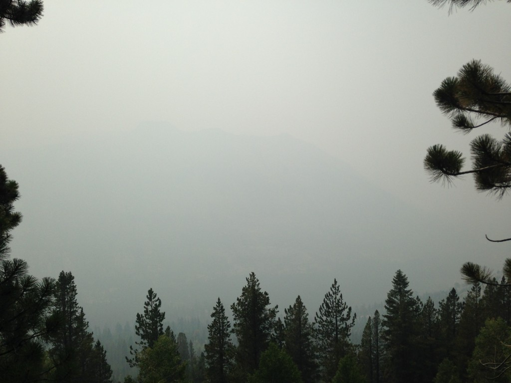 Conditions on the hike to the Muir Trail Ranch were not good. Instead of mountains, we saw only smoke.