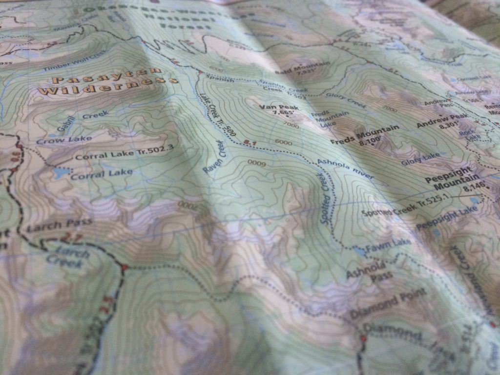 Just one tiny corner of the Pasayten. You need a big map for this wilderness!