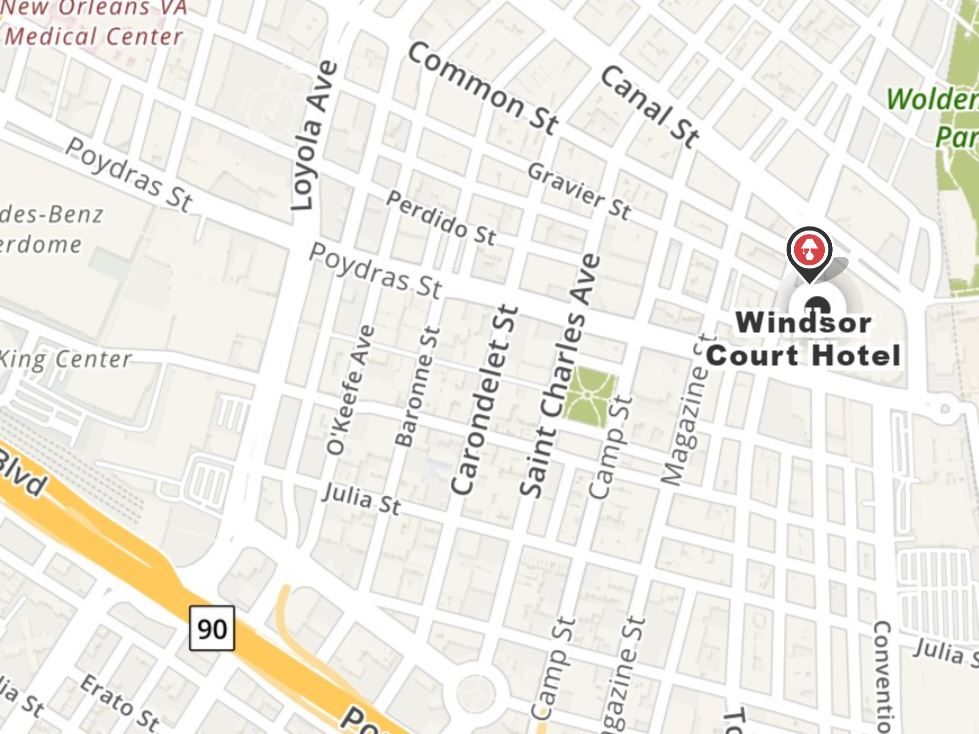 Map of Windsor Court's location in downtown New Orleans