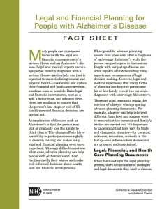 LEGAL AND FINANCIAL PLANNING FOR PEOPLE WITH ALZHEIMER'S DISEASE FACT SHEET