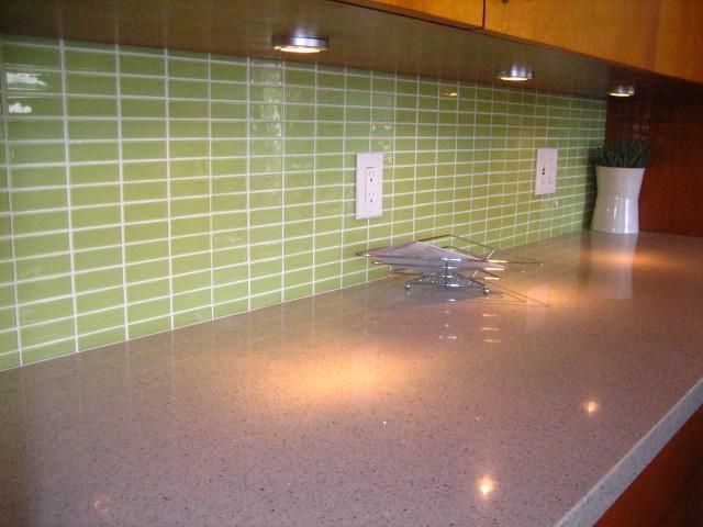 glass subway tile backsplash custom