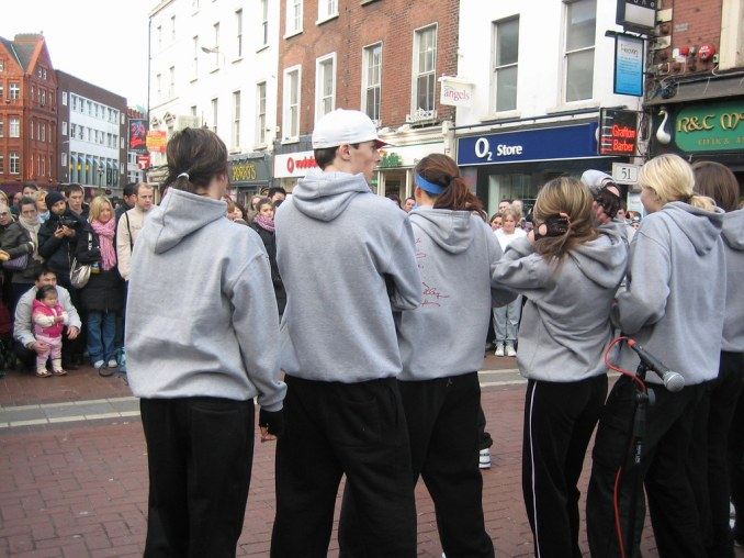 73 Irish Hip Hop students dancing on Grafton Street