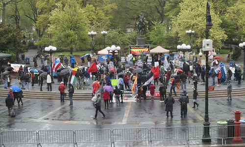 12:30 pm-Union Square-a small crowd of Commies in the rain