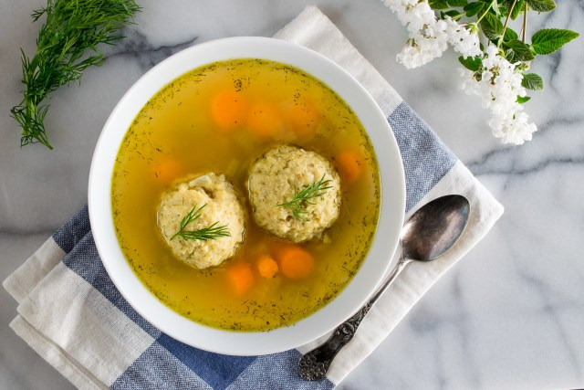 a comforting bowl of vegetarian matzo ball soup