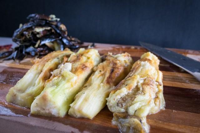 roasted and peeled eggplant