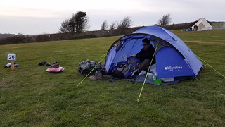 Sorting out the tent at Housedean Farm campsite