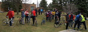 2016 15 Three Brampton cycling groups mingle before announcement_300