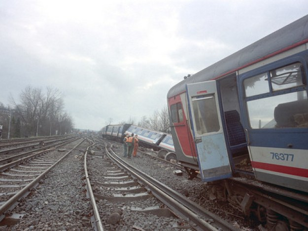 At 1339 on a rainy Saturday in March 1989, a Littlehampton to Victoria express train crashed into the rear of a Horsham to Victoria bound train.