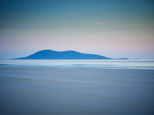 Dusk over Ceobaphal from Luskentyre, Isle of Harris