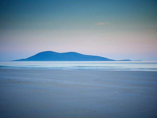 Dusk over Ceobaphal from Luskentyre, Isle of Harris