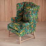 1 4 Scale Doll Wingback Chair Jungle Pattern Upholstery