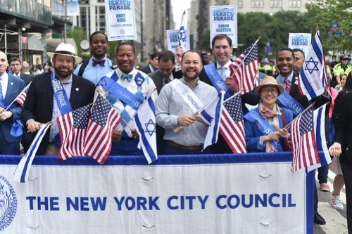 Speaker Corey Johnson and the NYC Council March in the 2018 Celebrate Israel Parade - John McCarten
