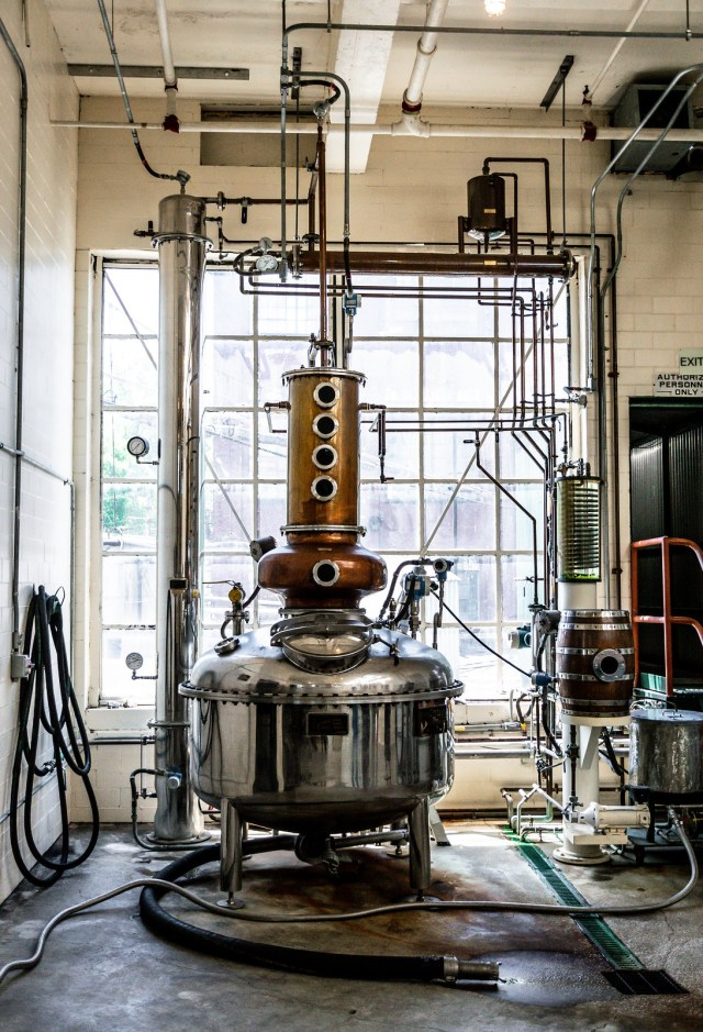 a classic copper still, used for small-batch bourbon