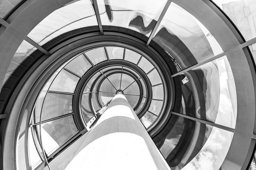 I M Pei Glass Spiral Staircase This Staircase Was Designe… Flickr   White And Glass Staircase   Step   Before And After   Handrail   Stained   Oak